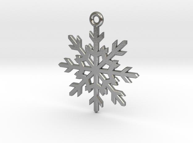 Snowflake Pendant in Raw Silver