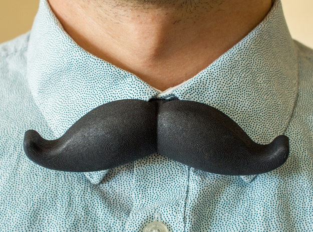 Mustache BowTie in Black Natural Versatile Plastic
