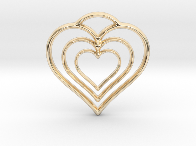 Three Hearts in 14k Gold Plated Brass