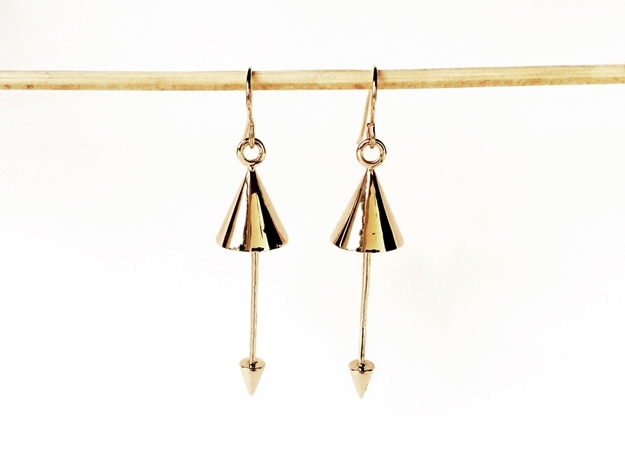 Earrings - Pendulum Dangle Earrings in Interlocking Polished Bronze