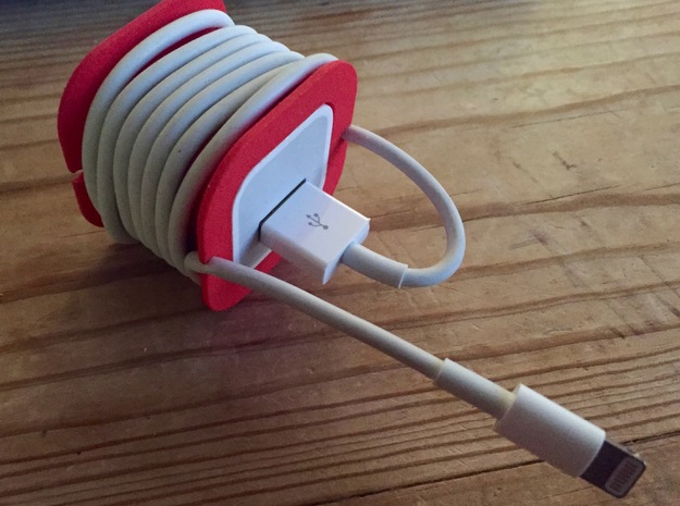 iPhone Charger Cord Spool in Red Strong & Flexible Polished