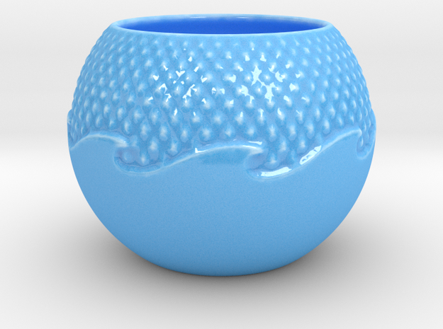 Wave Planter in Gloss Blue Porcelain