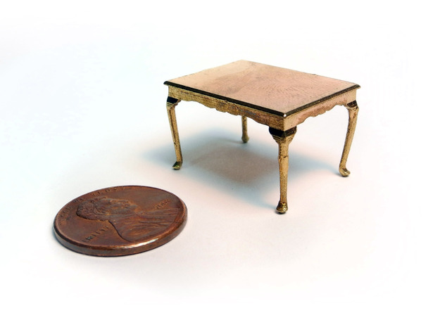 1:48 Queen Anne Dining Table in Natural Brass