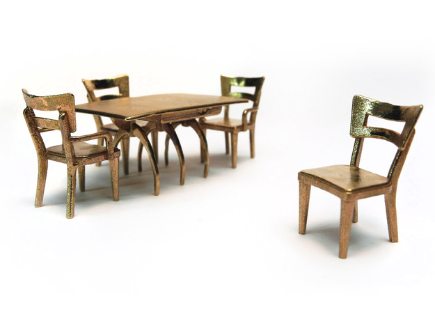 Pair of 1:48 Dog Bone Chairs 3d printed Shown with other moderne pieces, sold separately