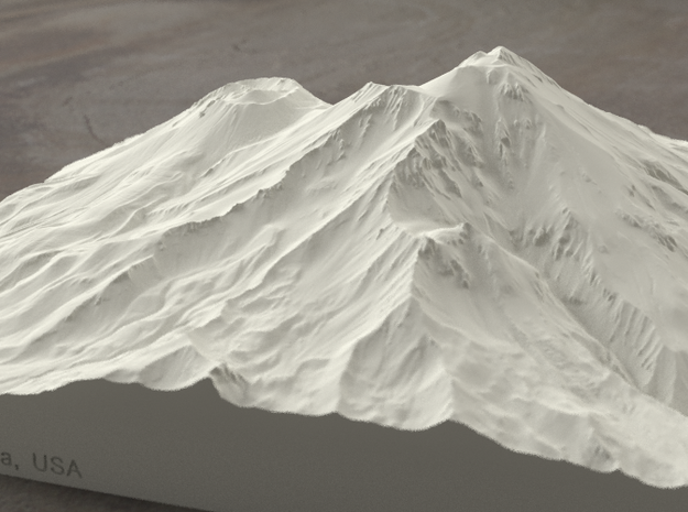 8'' Mt. Shasta, California, USA, Sandstone 3d printed Radiance rendering of model, viewed from the SSE