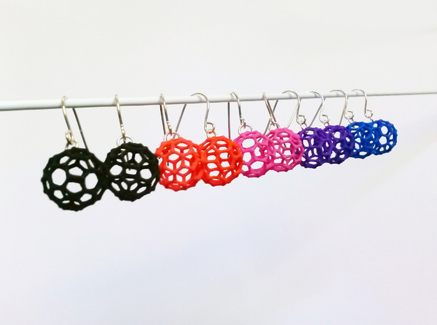Mini Buckyball Chemistry Molecule Earrings in Black Natural Versatile Plastic