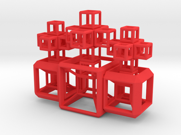 SCULPTURE COLLECTION: 3 HyperCubes 3 Crosses in Red Processed Versatile Plastic