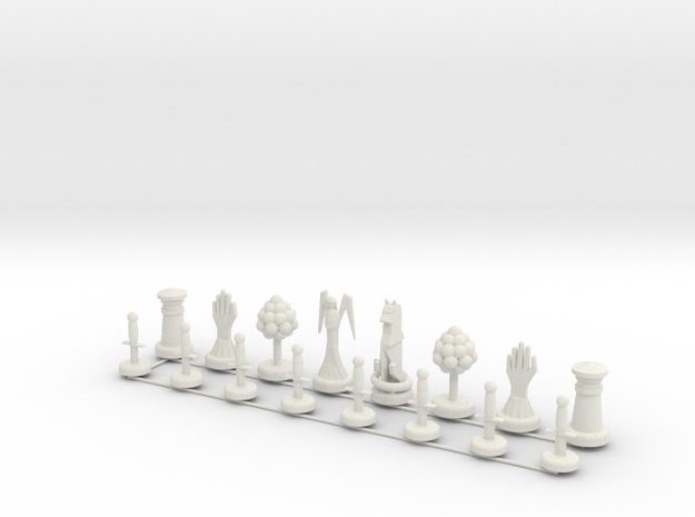 Chess Set Pieces Print in White Natural Versatile Plastic