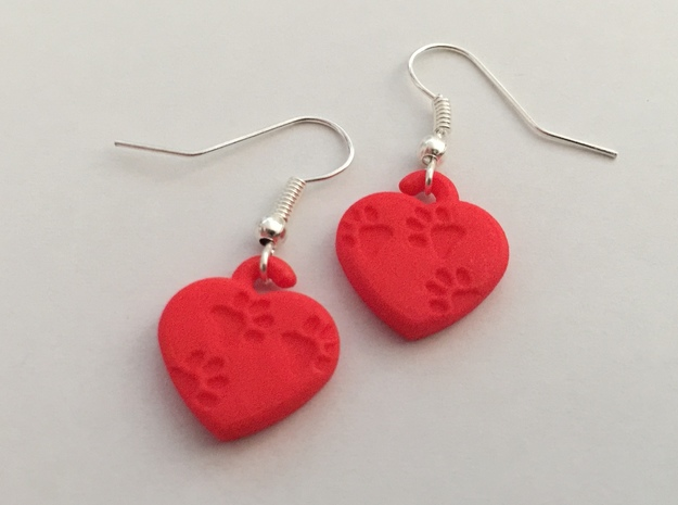 Pawprints On My Heart Earrings in White Natural Versatile Plastic