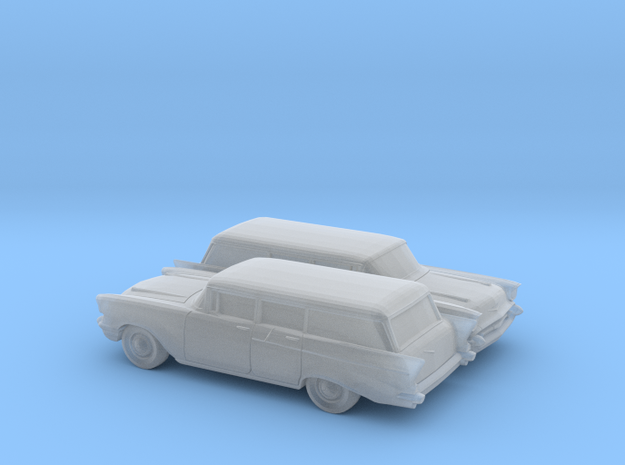 1/160 2X 1957 Chevrolet One Fifty Station Wagon in Smooth Fine Detail Plastic