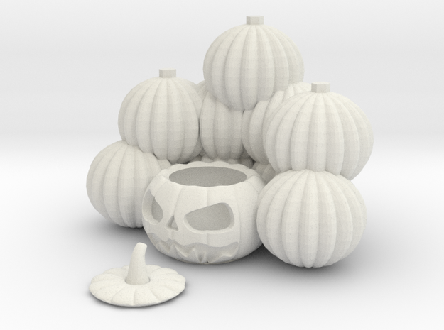 Pile Of Pumpkins Jackolantern in White Natural Versatile Plastic