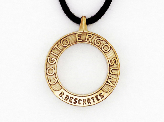 Cogito Ergo Sum in Polished Brass