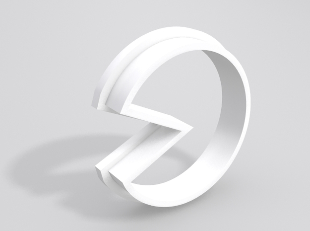 Pacman Cookie Cutter in White Processed Versatile Plastic