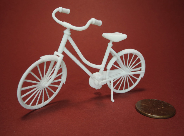 Miniature Vintage Bicycle (1:24) in White Natural Versatile Plastic