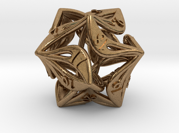 Countdown Curlicue 20-Sided Dice (alternate) in Natural Brass