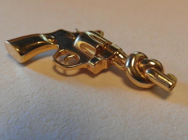 KnotN2Guns Pendant in Polished Brass