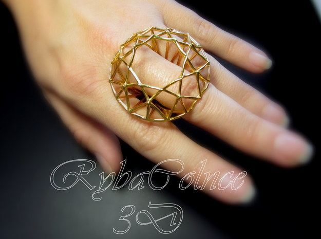 Ring The Diamond / size 9 US (19 mm) in Polished Bronze