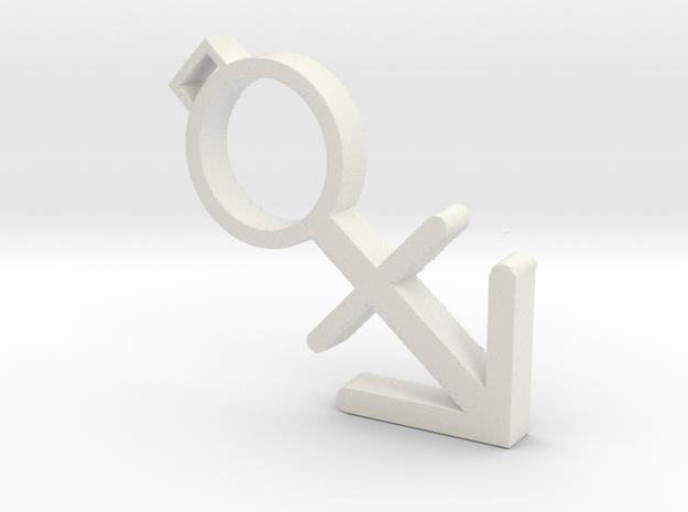 Fullsize nonbinary transgender necklace in White Strong & Flexible