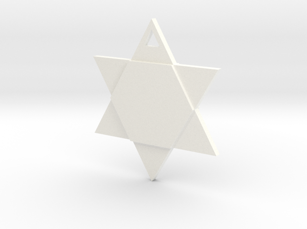 Star of David - Simple in White Strong & Flexible Polished