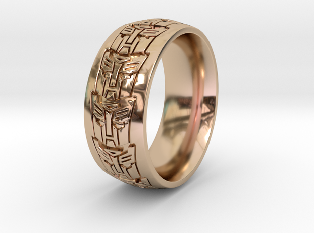 ROBOT RING 2 all sizes in 14k Rose Gold Plated Brass: 10.5 / 62.75