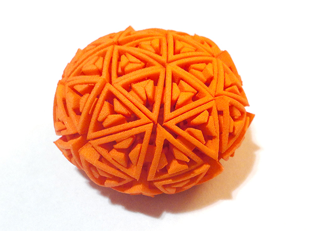 Soft-Boiled Geodesic (4.5cm) in Orange Processed Versatile Plastic