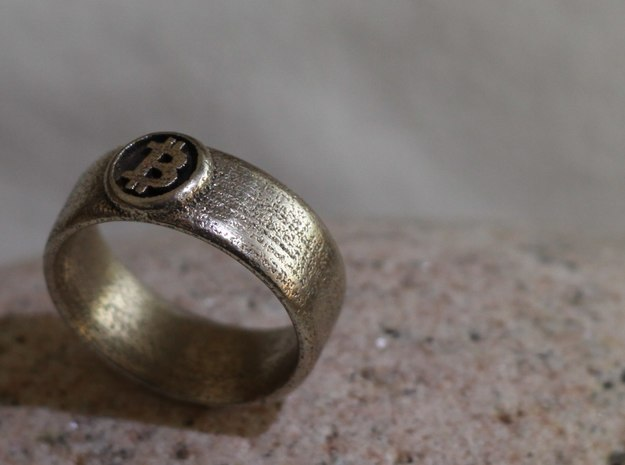 Bitcoin Ring (BTC) - Size 10.0 (U.S. 19.76mm dia) 3d printed Bitcoin Ring - Stainless steel [manually polished]