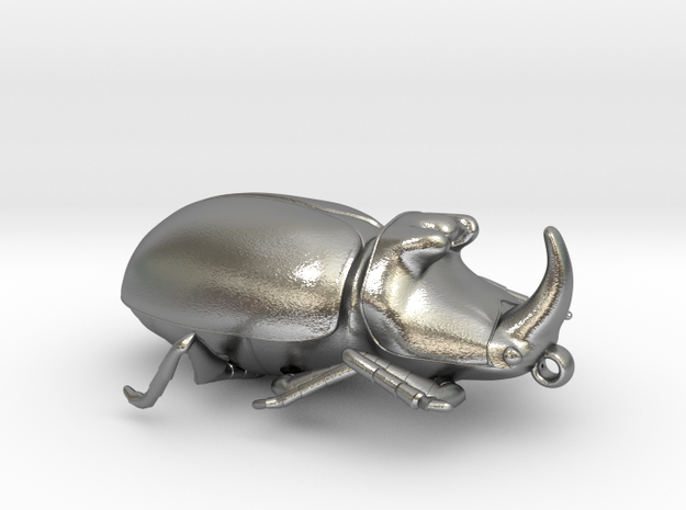 Rhinoceros-Beetle in Raw Silver: Extra Small