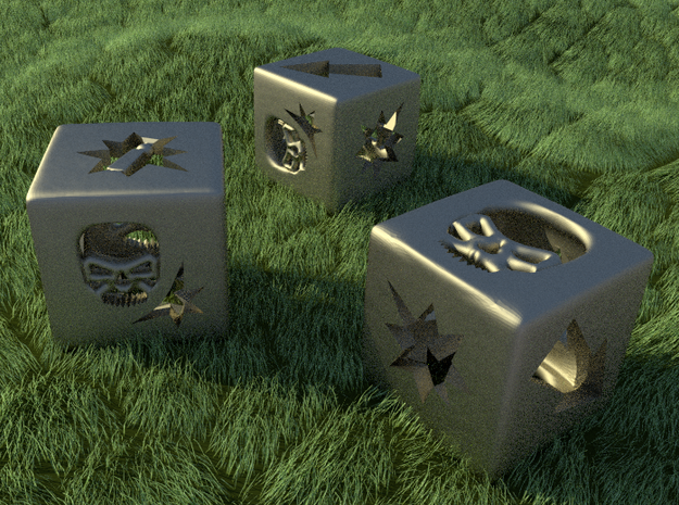 Blood Bowl Block Dice v2 3d printed Steel dice on the pitch!