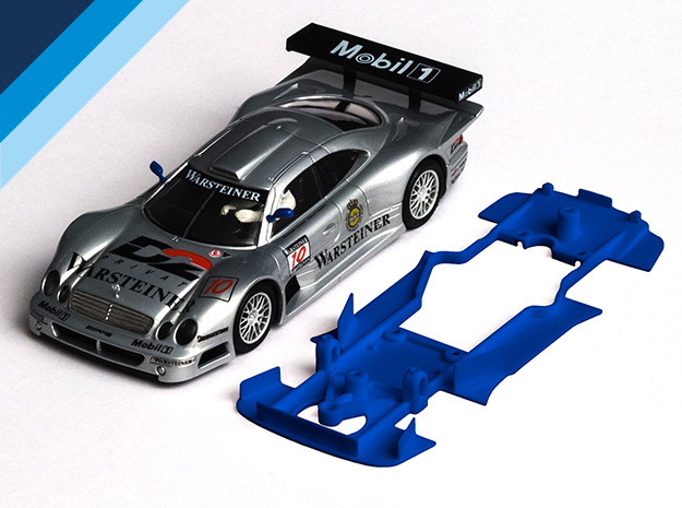 1/32 Ninco Mercedes CLK GTR Chassis Slot.it pod in Blue Processed Versatile Plastic
