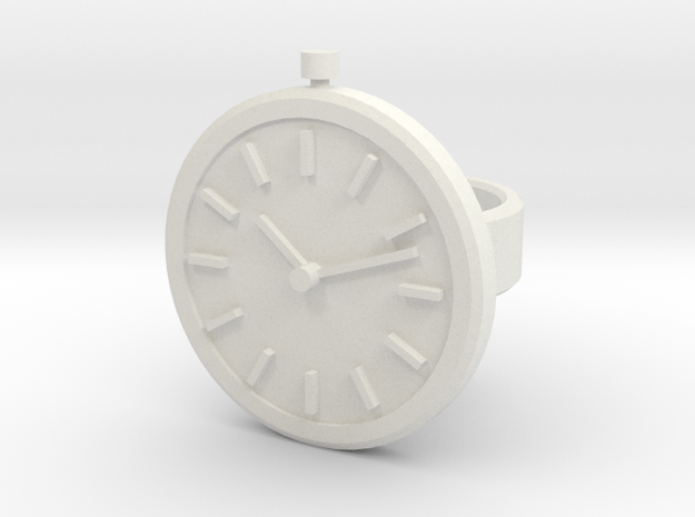 Watch Ring in White Natural Versatile Plastic