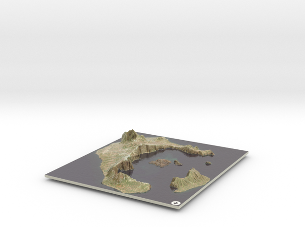 Santorini Map, Greece in Coated Full Color Sandstone
