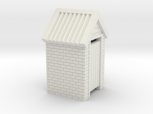 N Scale Brick Outdoor Toilet Dunny 1:160 in White Natural Versatile Plastic