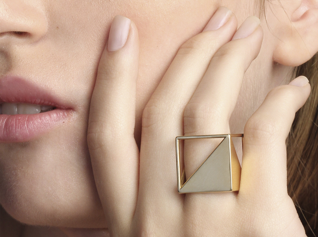 CUBE Nº 2 RING in 14k Gold Plated: 8 / 56.75