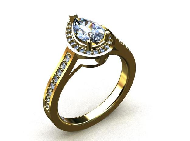 CCW19 Pear Halo One Ring 3d printed