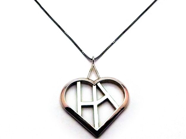 Heart of love pendant [customizable] 3d printed Front view (cusomizable initials! Chain not included) [printed in premium silver]