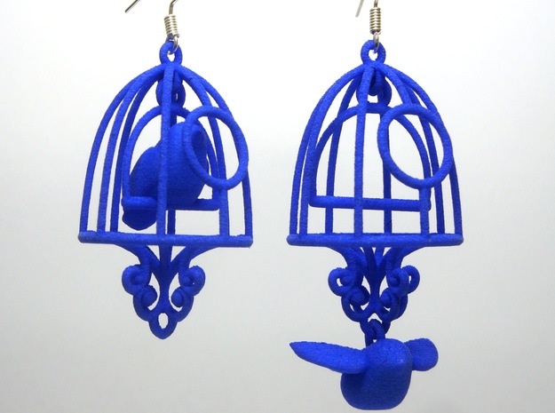 Bird in a Cage Earrings 04 in White Natural Versatile Plastic