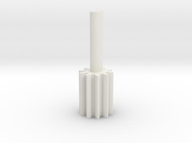 Cylindrical gear Mn=1 Z=10 - Alfa=20° Beta=0° b=15 in White Natural Versatile Plastic