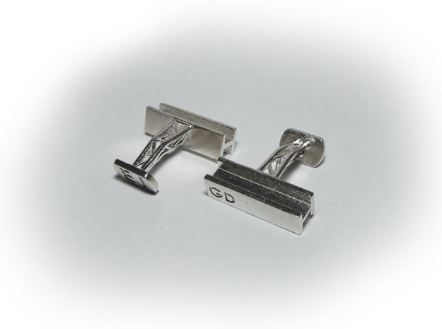 Steel Beam Cufflinks in Raw Silver