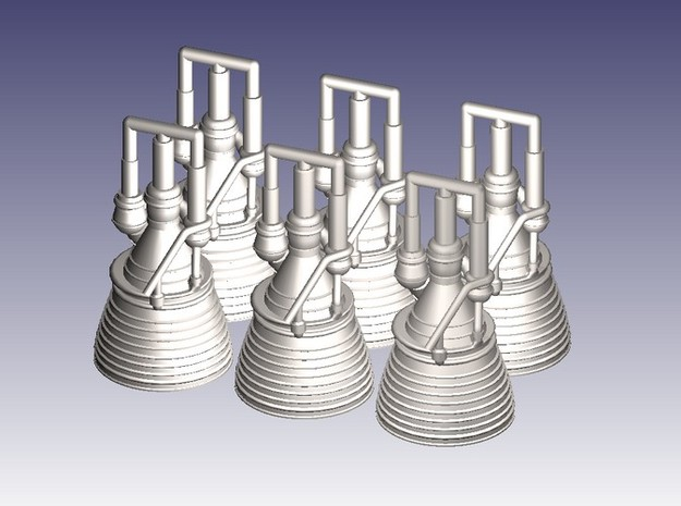 J-2 Engines (1:200 Set of 6) 3d printed