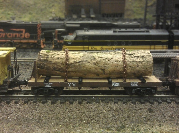 Yosemite Bulk Head Log Car x3 - N Scale 1:160 in Smooth Fine Detail Plastic