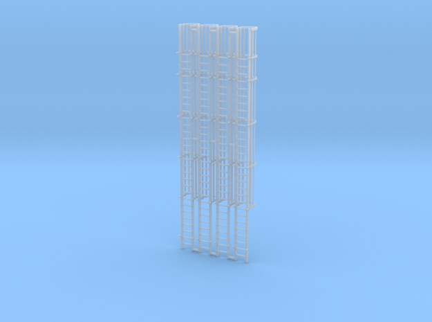 'HO Scale' - (4) 30' Caged Ladder - Cage to Top in Smooth Fine Detail Plastic