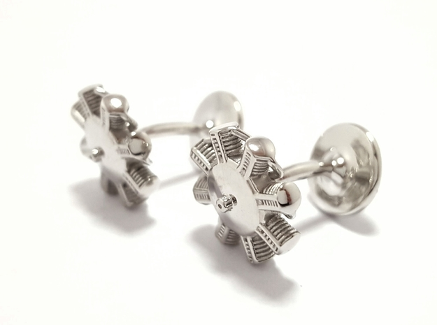 Radial Engine Cufflinks in Polished Silver