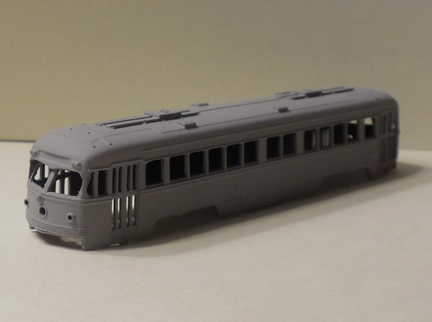 N Scale 1:160 Double-End PCC Red Arrow Trolley Bod in Smooth Fine Detail Plastic