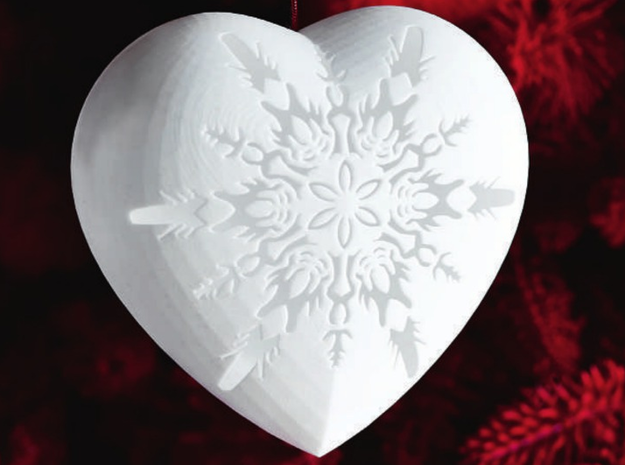 Small Snowflake Heart by Helen & Colin David in White Natural Versatile Plastic