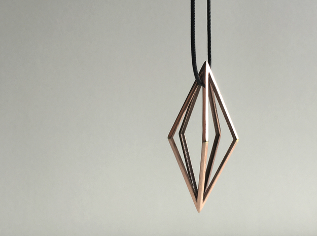 Diamond Pendant mk1 in Polished Bronze
