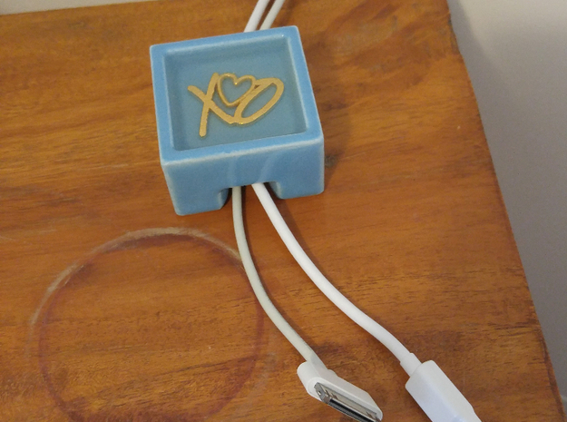 Gadget Cord Holder  in Gloss Blue Porcelain