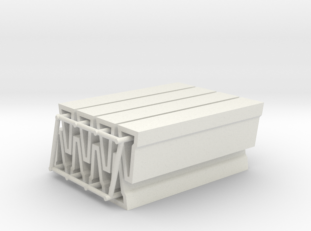 [8st] Betonbarriers 1:87 (H0) in White Natural Versatile Plastic