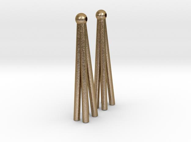 Earring Model K Pair in Polished Gold Steel