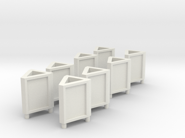 [8st] Driehoek reclamebord 1:87 (H0) in White Natural Versatile Plastic