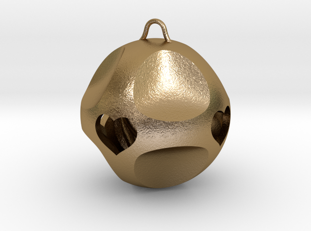 Ornament for Lovers with Hearts inside (large) in Polished Gold Steel